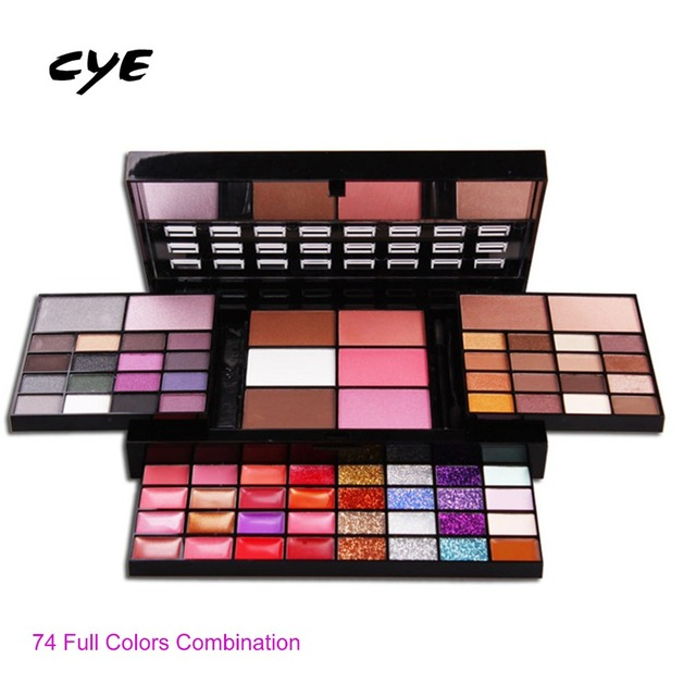 2016 New Professional Makeup Set Pro 74 Full Color Eyeshadow Lip Gloss Blusher Concealer Palette Kit Eye Shadow Cosmetics