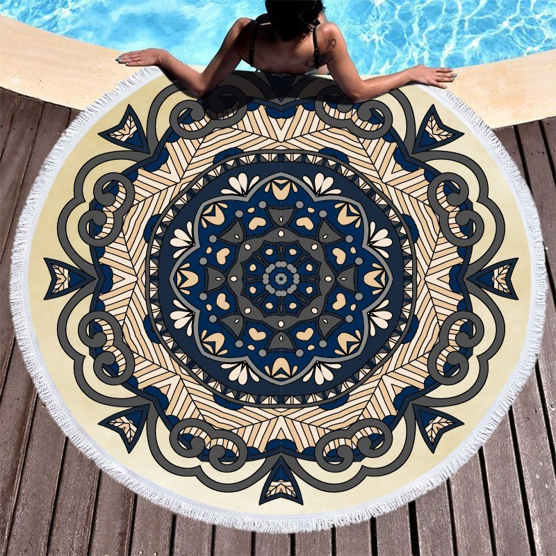 Image 2 - Mandala Flower Beach Towels Large Circle Tassel Beach Towel Microfiber Round Towel Bath Summer Sport Yoga Picnic Toalla De Playa-in Bath Towels from Home & Garden