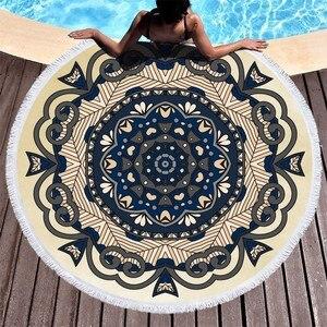 Image 2 - Mandala Flower Beach Towels Large Circle Tassel Beach Towel Microfiber Round Towel Bath Summer Sport Yoga Picnic Toalla De Playa