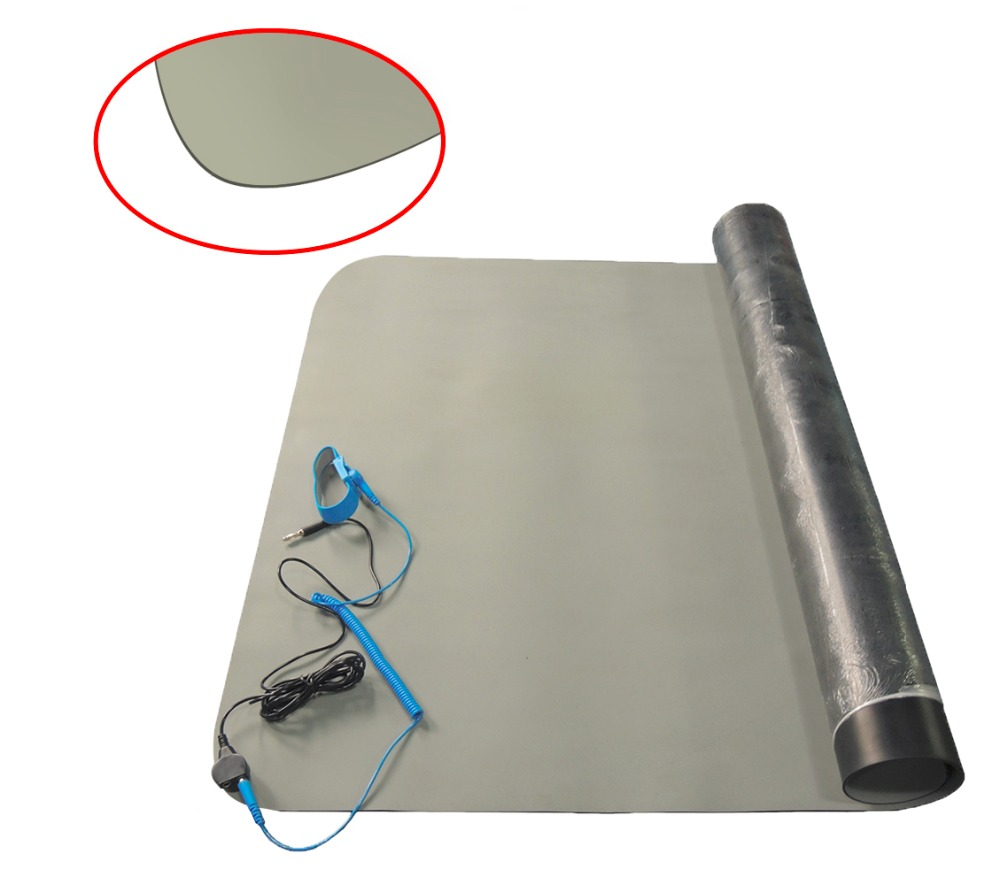 Grey Blue Green Conductive ESD Antistatic Working Bench Table Mat Rubber ESD Grounding Mat With Earth Bounding