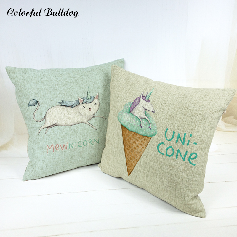 Creative Cushion Covers French Bulldog British Bowl Dog Rustic Hedgehog Coffee School Linen Home Office Decor Fall Pillow Cases