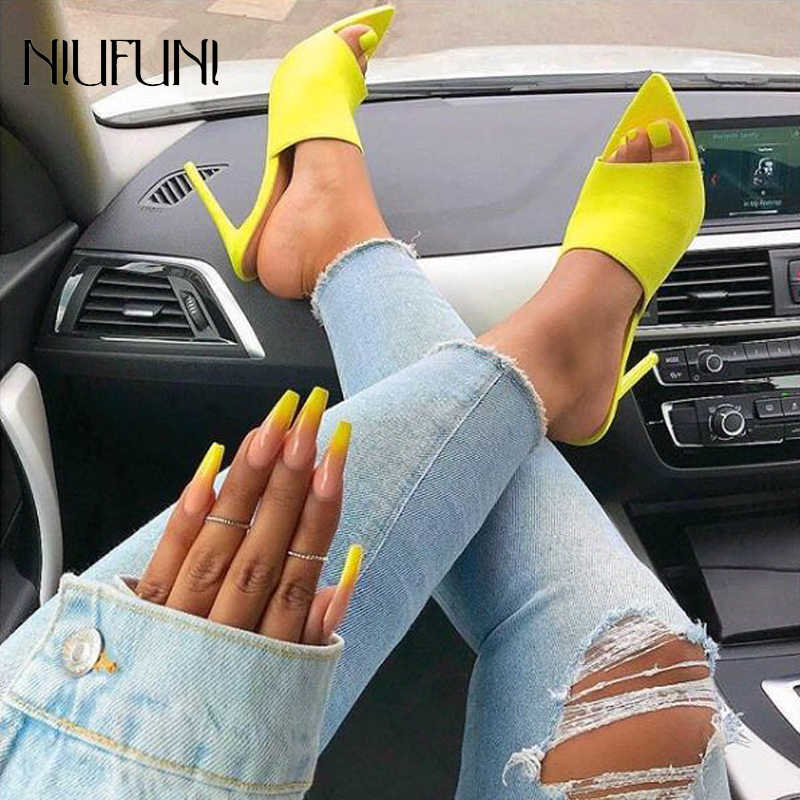 NIUFUNI Open Pointed Toe High Heel Mules Sexy Sandals for Women Dress Heels Ladies Stiletto Heel Summer Shoes Yellow/Red Size 40