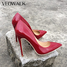 Veowalk Chile Red Women Patent Leather Basic High Heels Pointed Toe Sexy Pumps Elegant Ladies Burgundy Evening Dress Shoes