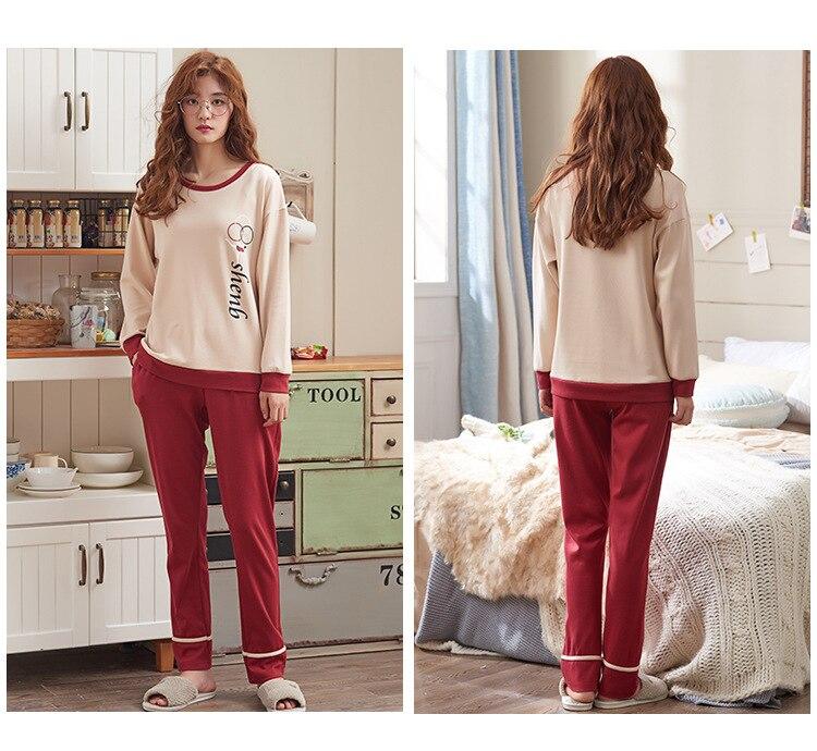 Pajamas Set Women Girls Cotton Long Sleeve T-shirt Pants Set Pijamas Female Spring Autumn Sleepwear Nightgown Pijama Femme M-3XL 50
