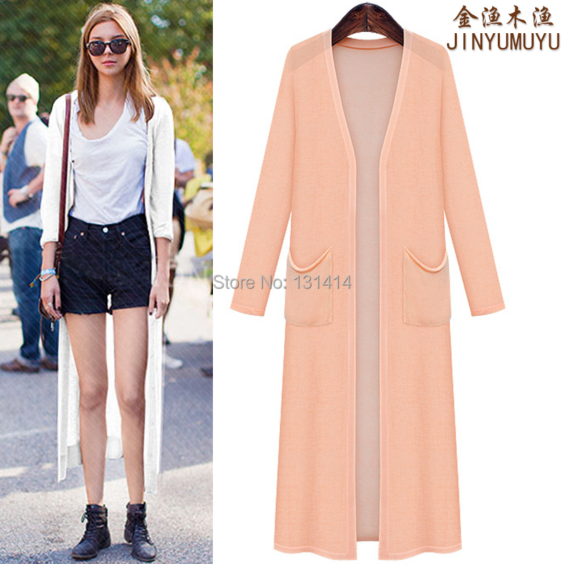 Women Long Jackets Summer Over Knee Pockets Long Coats Cardigans ...