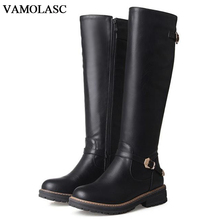 VAMOLASC New Women Autumn Winter Warm Leather Knee High Boots Zipper Square Low Heel Knight Boots Women Shoes Plus Size 34-43