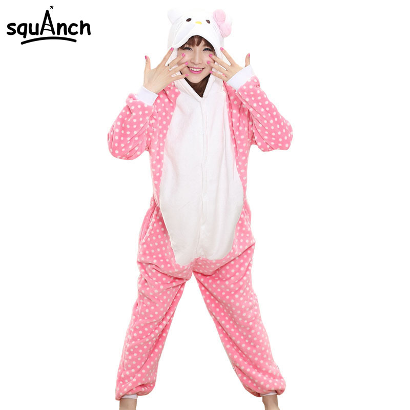 Women Onesie Lovely Pink Kitty Cat Pajama Girls Students Party Festival Role Play Jumpsuit Couple Fashion Dot Sleep Suit Winter