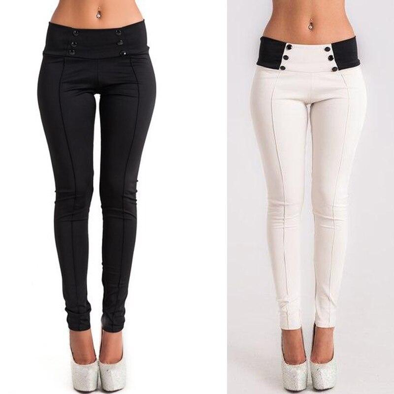 Women Casual Stretch Skinny Leggings Pencil Pants Slim Trousers High Waist Patchwork 2018 Summer Cotton White Black Button Pants