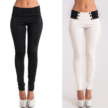 Women Casual Stretch Skinny Leggings Pencil Pants Slim Trousers High Waist Patchwork 2018 Summer Cotton White Black Button Pants