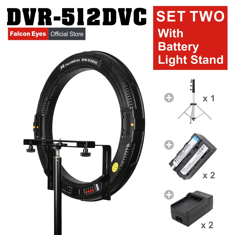 FALCONEYES 31W 512 Ring LED Photography  Continuous Panel Light W/Camera Bracket//Battery/Charger/LightStand DVR-512DVC SET TWO falconeyes super power 630 led ring light video light battery pack mv ad2 np f970 battery holder light stands