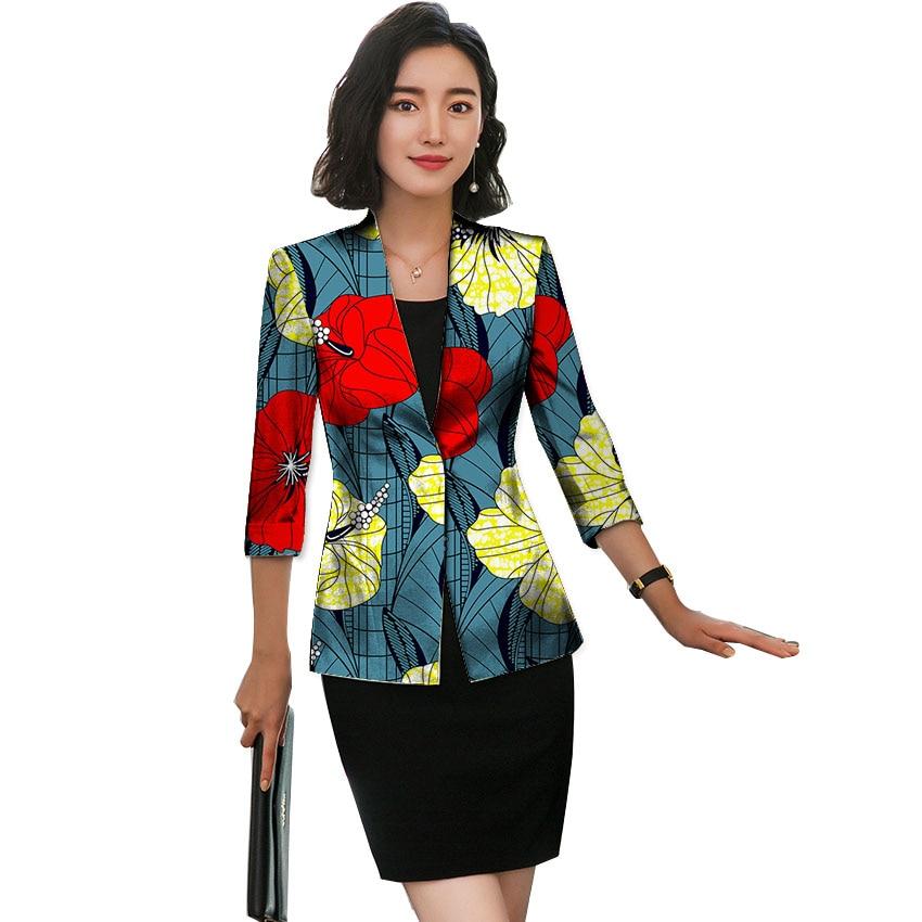 Blazer africain pour les femmes mode Ankara Blazer trois quarts manches imprimé costume veste vêtements Outwear Lady Dashiki vêtements