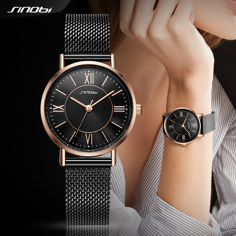 SINOBI Fashion Women's Quartz Wrist Watches Mesh Watchband Top Luxury Brand Watch Crystal Clock Ladies Wristwatch Reloj Mujer 19