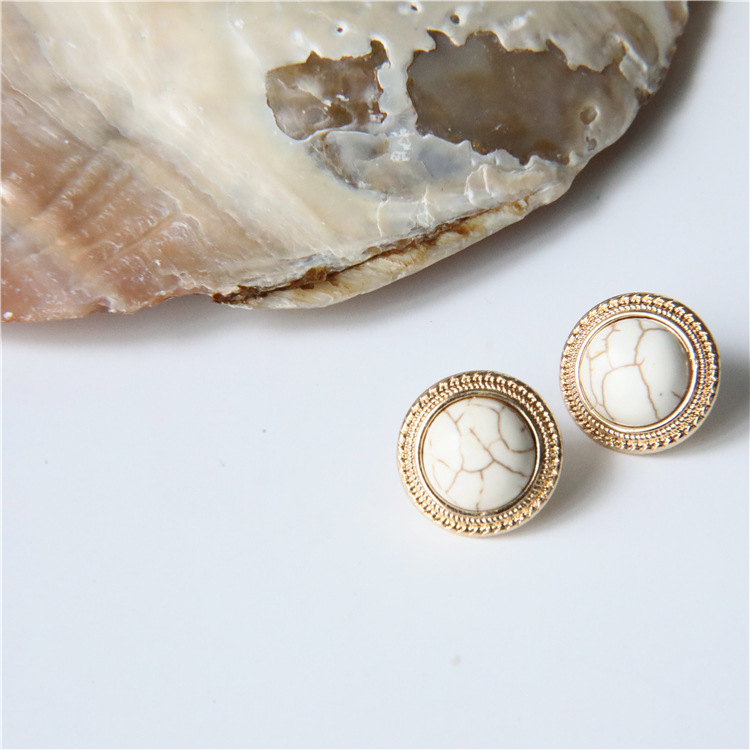 MENGJIQIAO 2019 Japan New Vintage Round Marble Opal Stone Big Stud Earrings For Women Fashion Temperament Simulated Pearl Brinco 5
