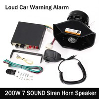 Auto Car Motorcycle 200W 7 Sound Tone Loud Car Warning Alarm Siren Horn Speaker MIC System