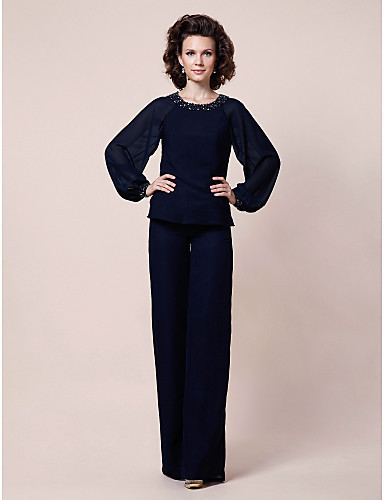 New mother of the bride pant suits Chiffon Floor length chiffon ...