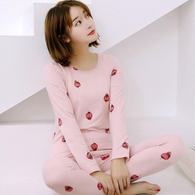 baa1e12791 Pijamas Mujer Sets traje de manga larga chica fresa de dibujos animados  Pijamas de las mujeres