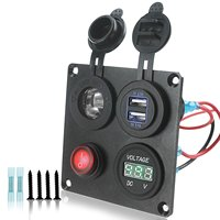 DIY 12 24V Voltmeter Cigarette Lighter 4.2A Dual USB Charger Switch 4 Hole Aluminum Panel Plate for Truck Boat Marine Trailer