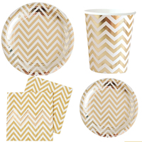 68 Pcs/Set Gold Striped Paper Plates Disposable Paper Plates Cups Napkin Paper Birthday Wedding Baby Shower Decor Party Supplies