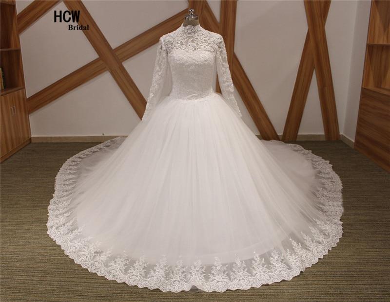 2 메터 긴 기차 이슬람 웨딩 드레스 높은 목 긴 소매 로얄 기차 진주 레이스 공주 웨딩 드레스 Vestido 드 Noiva