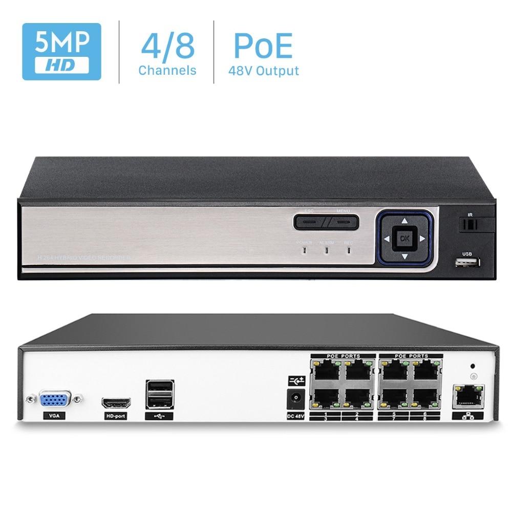 H 264 4CH or 8CH CCTV NVR 48V PoE 4 5MP 8 4MP Surveillance Security Video
