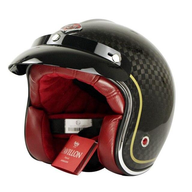 Sconto in fibra di carbonio Moto Open Viso Casco Retro Moto Capacet Masei Motore Cascoes rubino Motor Bike Casque