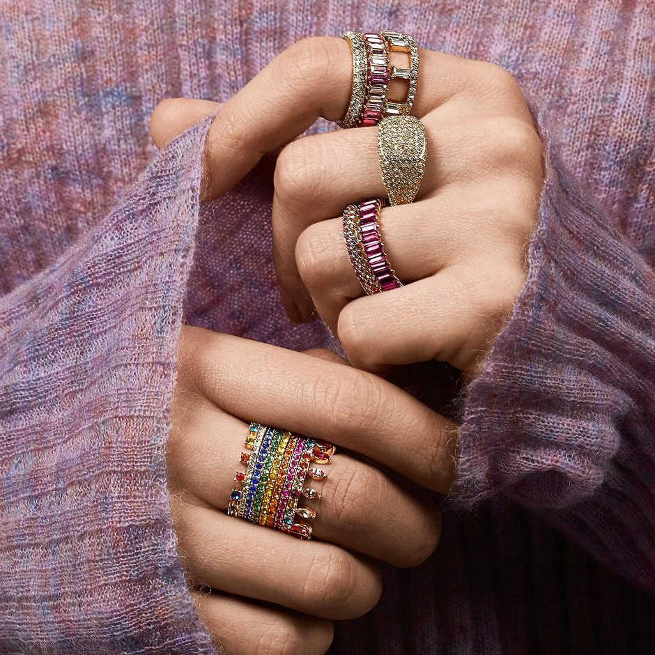 เงินสเตอร์ลิง 925 ทองแหวนสาย Micro Pave CZ Eternity 9 สี STACK 925 เงินสายรุ้ง CZ แหวนผู้หญิง
