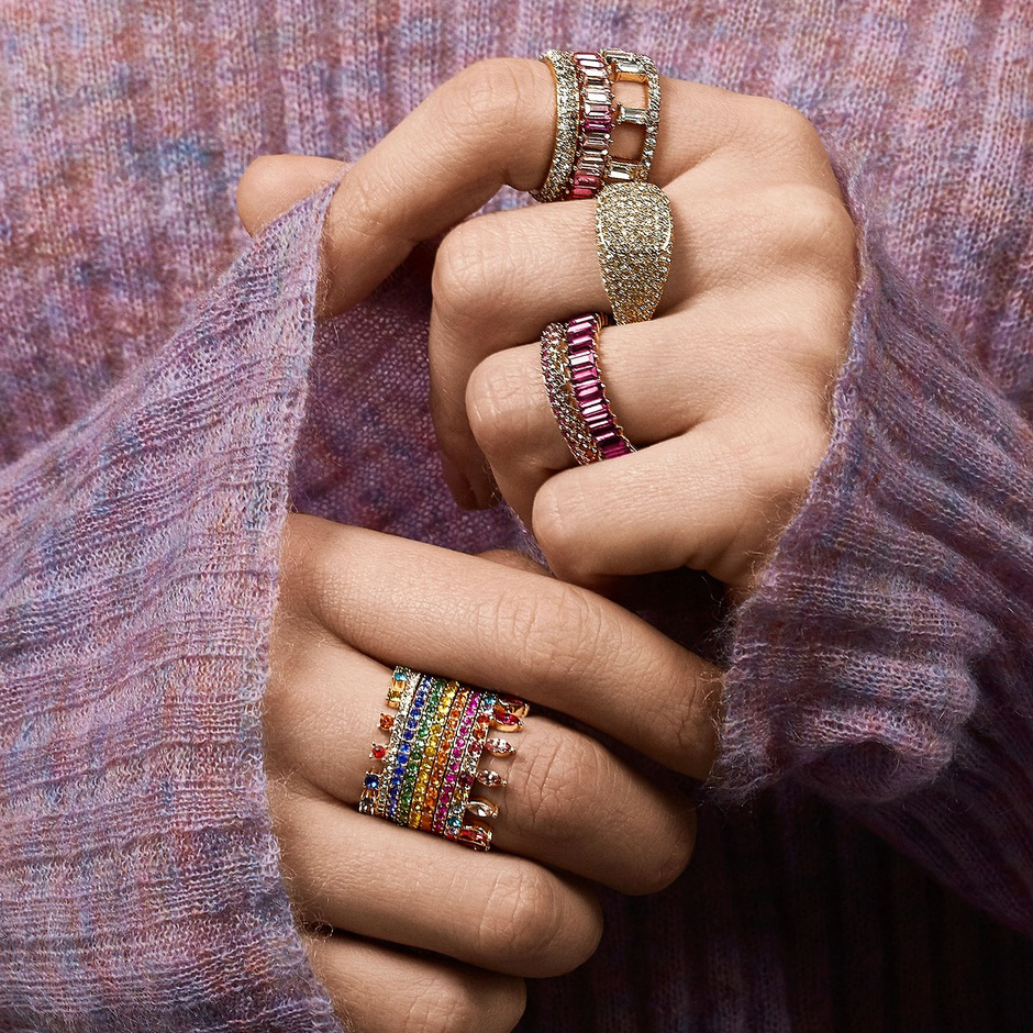 Sterling Silver 925 thin gold ring line micro pave cz eternity 9 colors stack 925 silver rainbow cz women rings