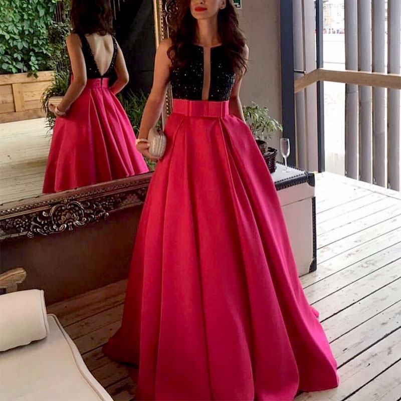 Sexy Hot Pink Prom Dresses Long Beaded Crystal Open Back Taffeta Ball Gown  Evening Dress With Stones vestidos blancos de proms -in Prom Dresses from  ... a4bd37ec0d8d