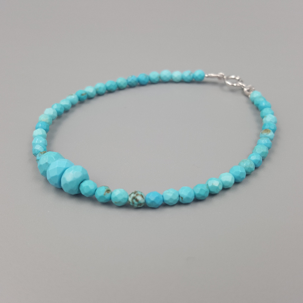 18/'/' CHAIN 925 STERLING SILVER DOUBLE STRAND NECKLACE W// TURQUOISE BEADS