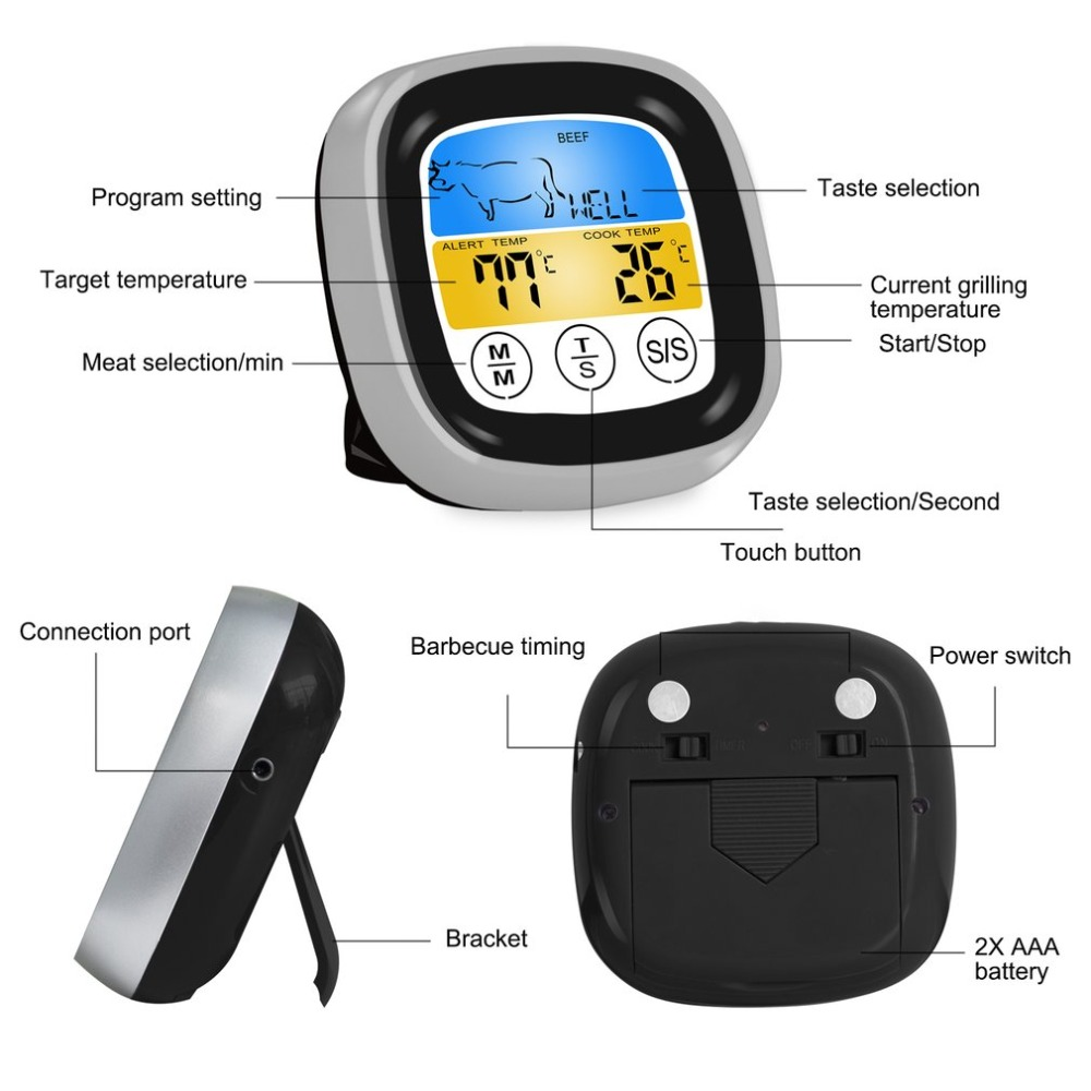 Digital Wireless Food Thermometer with Preset Temperature and Touch Screen Suitable for Perfect Cooking of Chicken Turkey and Fish 4