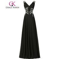 Grace Karin Luxury Long Evening Dress V Neck Elegant Cheap Black Pink Blue Vestido De Festa Formal Party Gown Evening Dress 2018