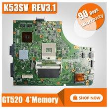 FÜR ASUS K53SV Laptop motherboard K53SV k53S X53SV A53S Mainboard N12P-GS-A1 REV 3,1 HM65 1G GT520M mainboard