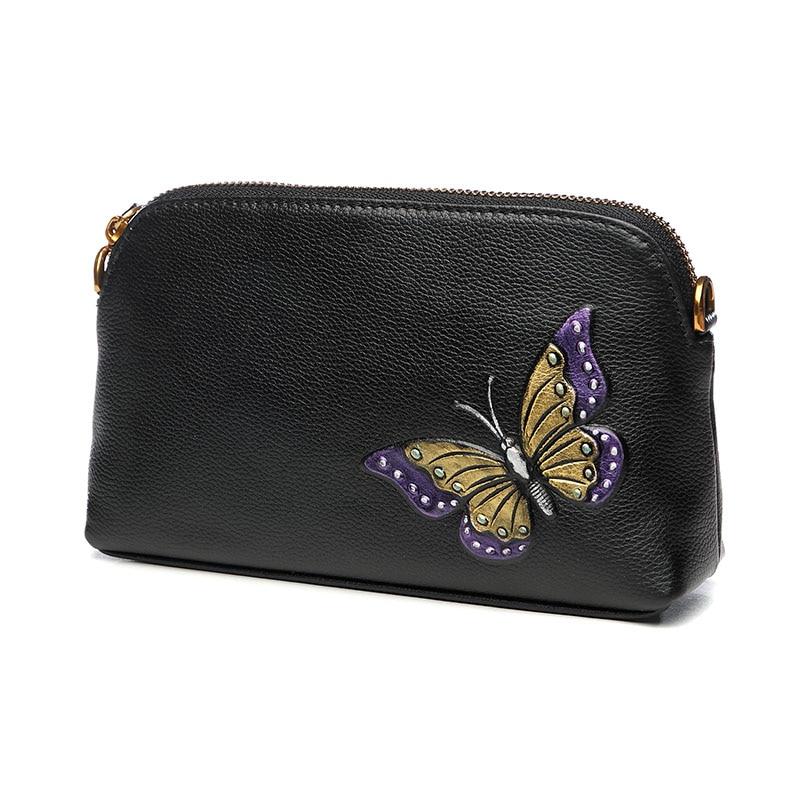 Butterfly Printing Genuine Leather Hand Bag Lady Messenger Bag Small Shoulder Crossbody Bag Femininas Zipper Clutch Bag Wristlet все цены