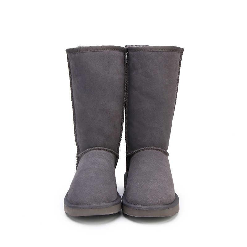 HABUCKN หิมะสูงรองเท้าสำหรับรองเท้าผู้หญิงฤดูหนาวหนัง sheepskin ขนสัตว์เรียงรายสาวใหญ่สูงขนสัตว์ต้นขาฤดูหนาวสีดำ