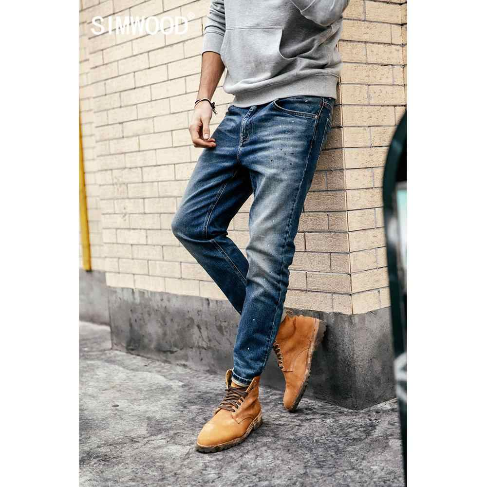 SIMWOOD 2019 Jeans Men Fashion Denim Ankle-Length Pants Slim Plus Size Trousers Brand Clothing Streetwear Free Shipping 190021
