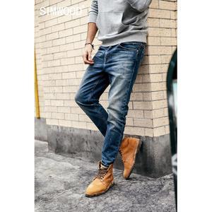 Image 1 - SIMWOOD 2020, pantalones vaqueros a la moda para hombre, pantalones tobilleros de tela vaquera, pantalones ajustados de talla grande, ropa de marca, ropa de calle, Envío Gratis 190021