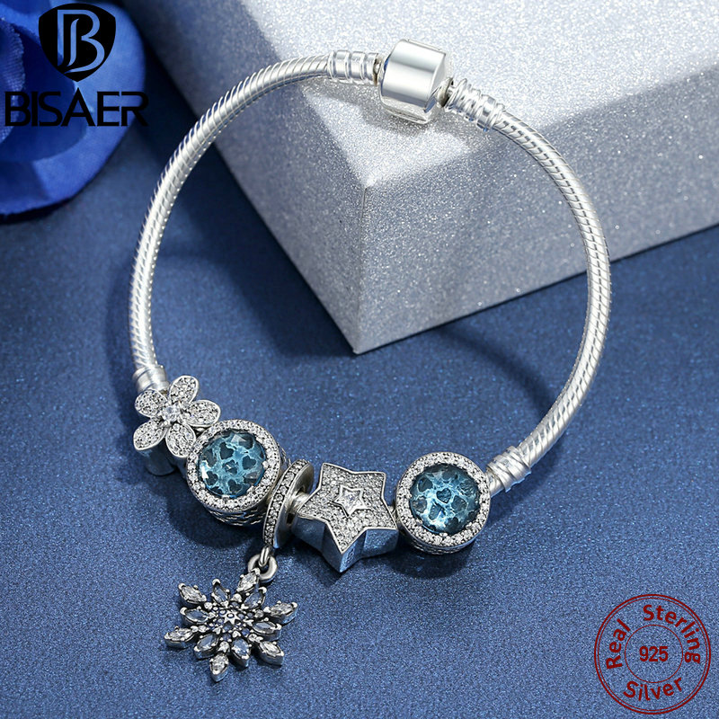 BISAER Femme 925 Sterling Silver Snowflake Charm Radiant Heart Crystal Star Blue Charm Bracelets for Women Jewelry pulseras rock style star bee heart faux crystal charm bracelet for women
