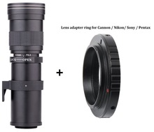 Cheapest prices Lightdow 420-800mm F/8.3-16 Super Telephoto Manual Zoom Lens+T2 Adapter ring for Canon EOS Nikon Sony Pentax DSLR Cameras