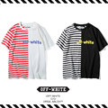 Best Version New Arrival 2017 Spring Summer OFF WHITE Letter Stripe Spell Color Stitching Male Female Lovers Short Sleeve Tshirt