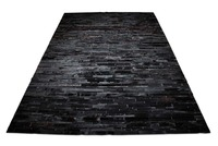 STAND ON QUALITY LEATHER ALL BLACK STRIPED NATURAL COW HIDE PATCHWORK RUG DESIGN NO 253