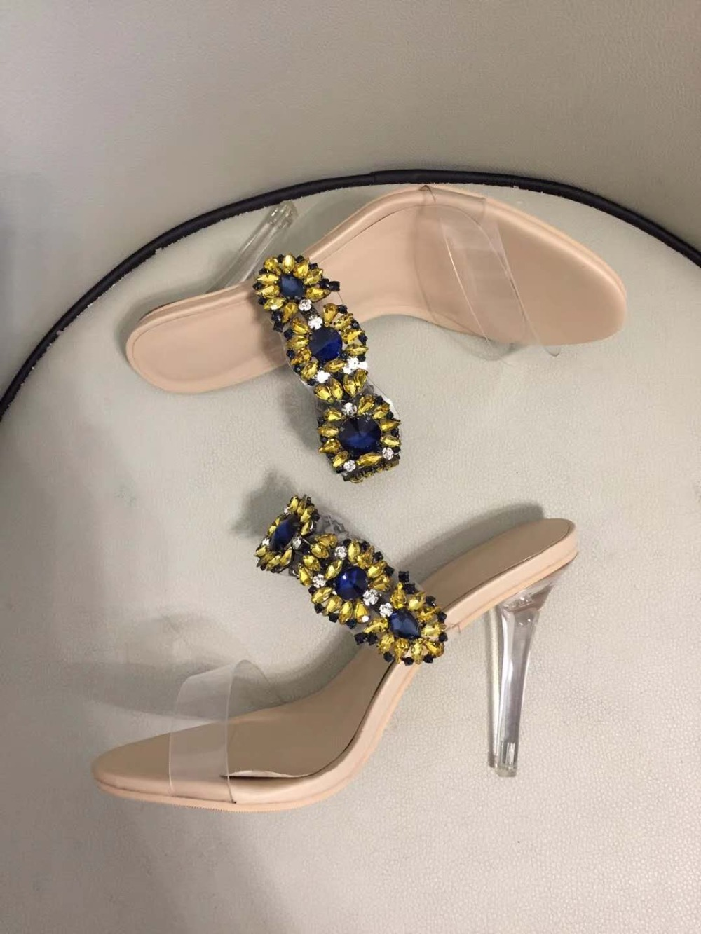 Women Sandals Crystal Summer Slippers Clear High Heels Transparent Clear Heel Women Shoes Ladies Party Sandals