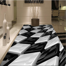 3D black and white three-dimensional box creative floor