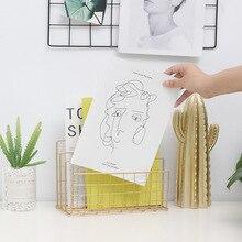 Креативный ins стиль металлическая сетка книжная стойка файл лоток журнал Органайзер стол набор ручной работы магазин взрыв