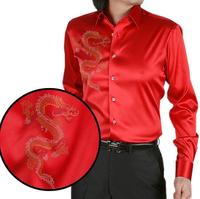 Loldeal Red Chinese Dragon Printing Men's Silk Shirt Casual Men Long Sleeve Summer Wedding Dress Shirt Party Shirt