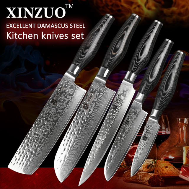5 Pcs Kitchen Knives Set Damascus Steel Kitchen Knife Set Stainless Steel  Cleaver Chef Utility Knife
