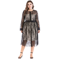 Women Plus Size Sheer Mesh Floral Lace Dress Rhinestone Long Sleeve Elegant Evening Party Dress for Women Oversize vestido Black