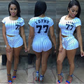 2017 moda verão mulheres casuais boné de beisebol carta listrado imprimir cropped tops de manga curta sexy shorts duas peças define ternos