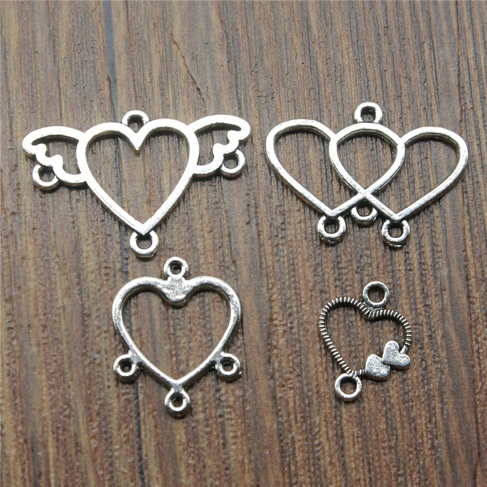 50%OFF(10 pcs or more) Heart Earring Connector Charms For Jewelry Making Earring Connector Charms Vintage Antique Silver Color50%OFF(10 pcs or more) Heart Earring Connector Charms For Jewelry Making Earring Connector Charms Vintage Antique Silver Color