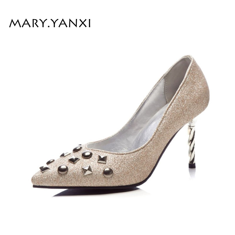 Spring/Autumn Women Pumps Big Size Lazy Shoes Sequined Cloth Rivet Fashion Casual Party Slip-On Pointed Toe Shallow Thin Heels spring autumn women pumps pointed toe thin high heels pumps lady casual slip on shallow shoes simple party slim nightclub pumps