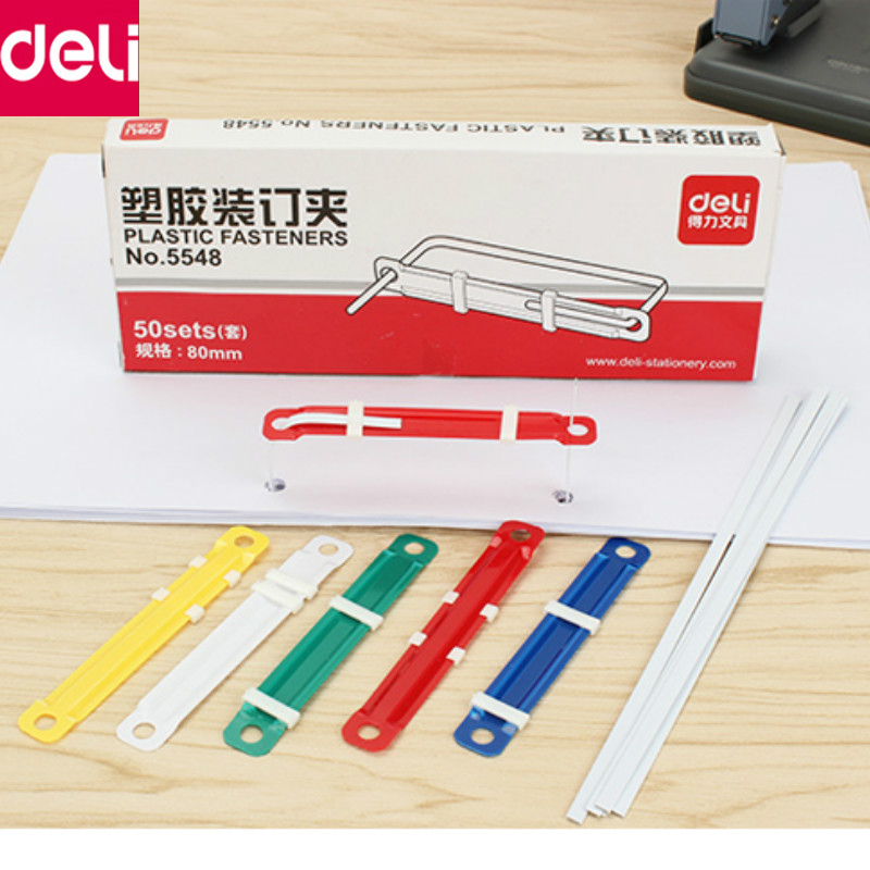 Deli Binding Clip Stationery 50pcs/box Colorful 2 Holes Plastic Paperclip Paper Document File Clip Office School Supplies цена и фото